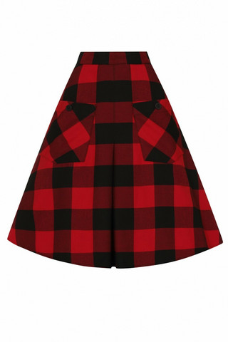 50071 HELL BUNNY TEEN SPIRIT MID SKIRT, BLK/RED