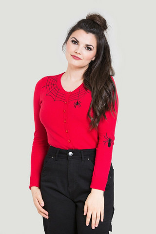 6347 HELL BUNNY SPIDER CARDIGAN, RED
