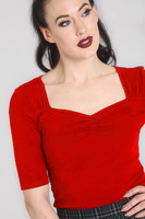 60155 HELL BUNNY PHILIPPA TOP, RED