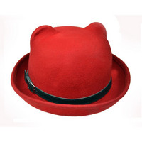 IN Kitty Bowler hat, red