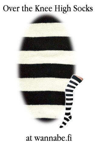 1002 Over knee high, stripe blk/wht