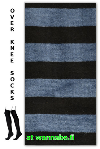 1002 Over knee high, stripe blk/indigo