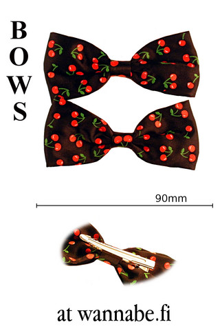 bow on clip, cherry