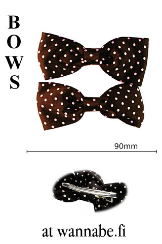 bow on clip, polka dot, blk