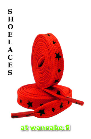 shoelaces, star, red/blk