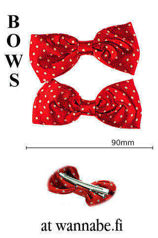bow on clip, polka dot, red