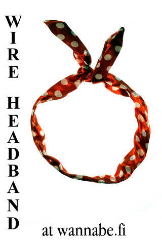 Wire Headband, polka dot, red