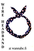 Wire Headband, polka dot, navy