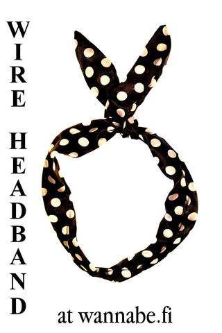 Wire Headband, polka dot, blk