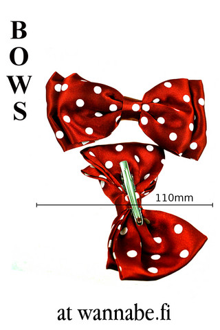 Double bow on clip, polka dot, red