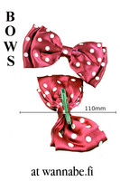 Double bow on clip, polka dot, pink