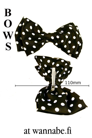 Double bow on clip, polka dot, blk