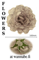 Large Rose on elastic & brooch pin, silver