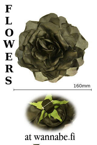 Large Rose on elastic & brooch pin, blk