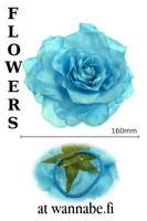 Large Rose on elastic & brooch pin, turq