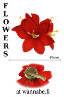 Lilies on concord clip and brooch pin, red