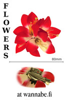 Lilies on concord clip and brooch pin, red/wht
