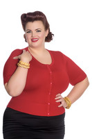 6586 Wendi Cardigan, plus size, red