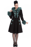 8073 Sherwood coat, blk/teal fur