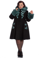 8073 Sherwood coat, blk/teal fur, plus size