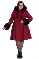 8073 Sherwood coat, dark red/blk fur, plus size