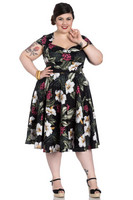 4717 Kalei 50´s dress,blk,  plus size