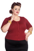 6586 Wendi Cardigan, dark red, plus size