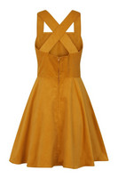 40006 HELL BUNNY WONDER YEARS PINAFORE DRESS, MUSTARD