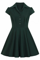 40159 HELL BUNNY CARLIE MINI DRESS, DARK GREEN