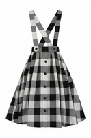 50070 HELL BUNNY TEEN SPIRIT PINAFORE SKIRT, BLK/WHT