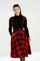 50070 HELL BUNNY TEEN SPIRIT PINAFORE SKIRT, BLK/RED