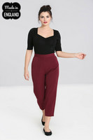 50102 HELL BUNNY CARLIE CIGARETTE TROUSERS, BURG