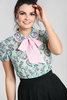 60077 HELL BUNNY WILLOW SPARROW BLOUSE, MINT