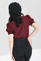 60011 HELL BUNNY HUMBUG BLOUSE, RED