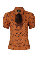 60061 HELL BUNNY VIXEY BLOUSE, GRN