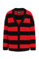 60109 HELL BUNNY NEVERMIND OVERSIZE CARDIGAN, BLK/RED