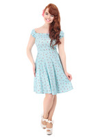160814 COLLECTIF Ramona Cherry Lips Doll Dress, blu