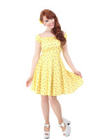 160814 COLLECTIF Ramona Cherry Lips Doll Dress, yel