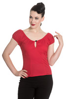 6557 Miranda top, red/blk dots