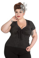 6541 HELL BUNNY Angette top, blk, plus size