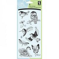 Inkadinkado: Patterned Birds & Bugs  - kirkas leimasinsetti