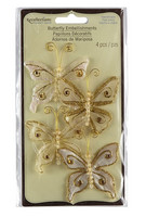 Recollections: Glacee Butterfly Embellishments White & Gold