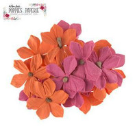 Poppies & Paperie Paper Flowers: Fuchsia & Orange