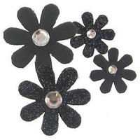 Spare Parts Gem Glitter Flowers: Black Mix