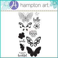 Layering Clear Stamps:  Butterflies -kirkas leimasinsetti