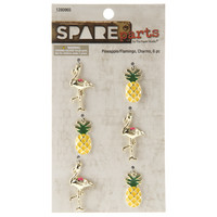 Pineapple & Flamingo Charms  -metallikoristeet