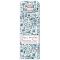 Deco Mache Decoupage Papers: Blue Stamps