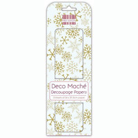 Deco Mache Decoupage Papers: Gold Snowflakes