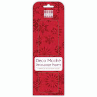 Deco Mache Decoupage Papers: Red Snowflakes