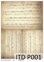 Printed Vellum A4: Vintage Music Sheets